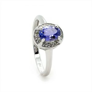 The Tanzanite Halo Diamond Ring