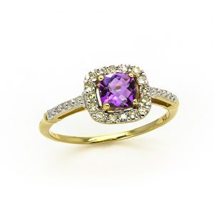 The Amethyst Halo Diamond Ring