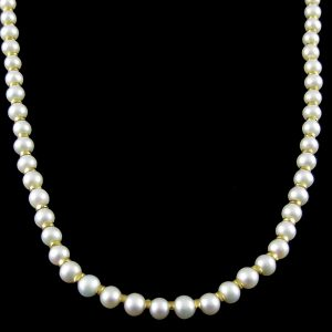 Pearl Strand With Gold Rings