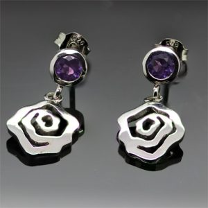 Sterling Silver Contemporary Amethyst Earrings