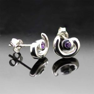 Sterling Silver Curved Amethyst Gemstone Studs