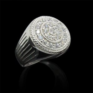Bold Round Zircon Mens Ring