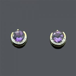 Amethyst Studs With Diamonds