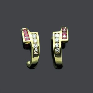 Lovely Half Hoop Ruby & Diamond Earrings
