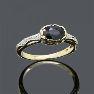 Crown Sapphire And Diamond Ring