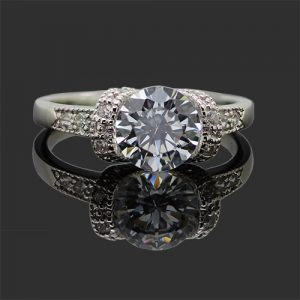 Silver Solitaire Zircon Engagement Ring