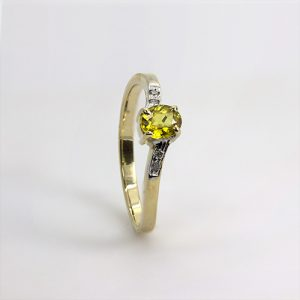 Stylish Yellow Sapphire and Diamond Ring