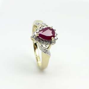 Pear Drop Ruby Diamond Ring