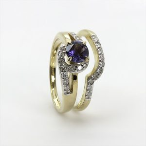 Diamond Iolite Engagement Wedding Ring Bridal Set