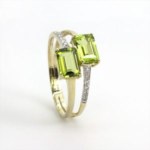Twin Peridot Diamond Ring