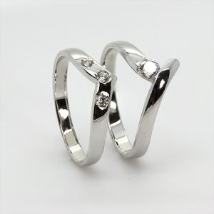 Contemporary Bridal Engagement and Wedding Ring Zircon Set