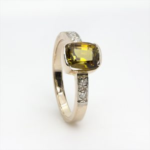 Yellow Tourmaline & Diamond Ring