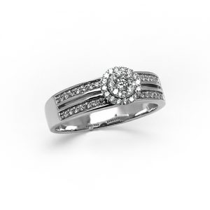 A Diamond Halo Engagement Ring in White Gold