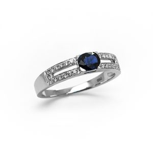 A speculator Blue Sapphire Engagement Ring in White Gold