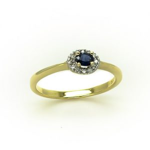 A Sapphire Diamond Halo Engagement Ring