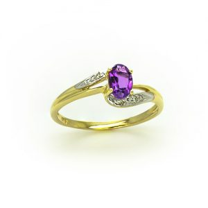 A Stylish Amethsyt Diamond Engagement Ring