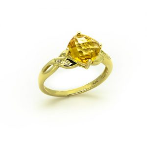 A Chequered Citrine Diamond Engagement Ring