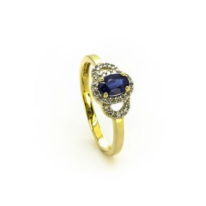 A stunning Blue Saphire Halo Diamond Engagement Ring