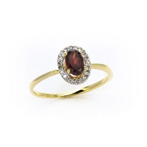 An Elegant Red Garnet Halo Ring