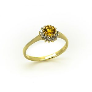 The Citrine Halo Diamond Enagement Ring
