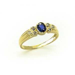 A Fancy Elegant Blue Sapphire Diamond Ring
