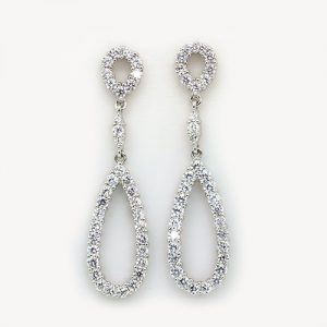 Long Zircon Loop Bridal Earrings