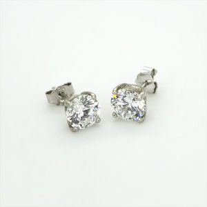 6mm Round Sparkling Zircon Earrings