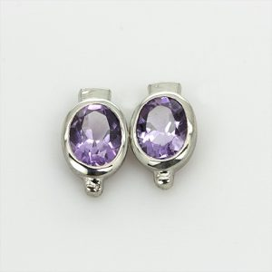 Sterling Silver Oval Amethyst Earrings