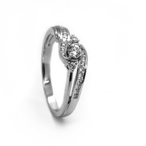 A Stunning Diamond Engagement Ring In White Gold