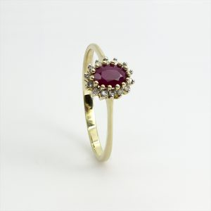 The Dainty Ruby Halo Ring