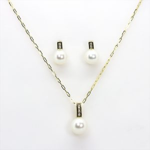 Gold Pearl Pendant and Earrings