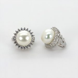 The Zircon Halo Pearl Earrings
