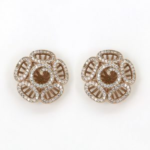 Charming Rose Gold Plate Sterling Silver Earring Studs