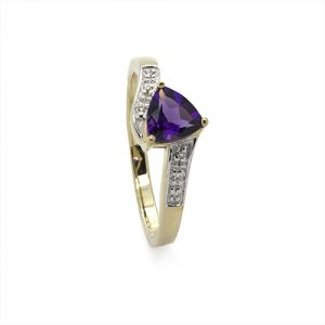 The Triangle Twist Amethyst Engagement Ring