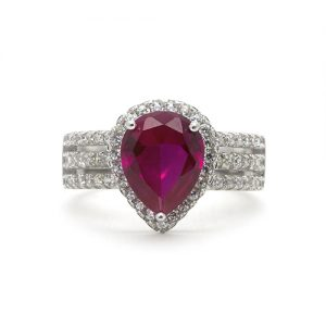 The Red Pear Drop Silver Engagement Ring