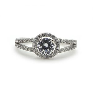 The Halo Silver Engagement Ring