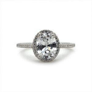 The Oval Halo Silver Engagement Ring