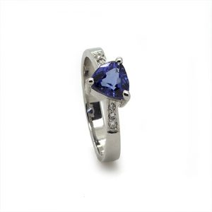 A Triangle Tanzanite Diamond Engagement Ring