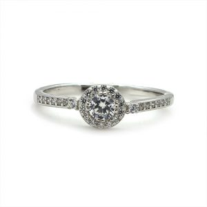 The Dainty Halo Silver Engagement Ring