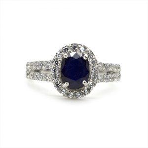 The Deep Blue Halo Silver Engagement Ring