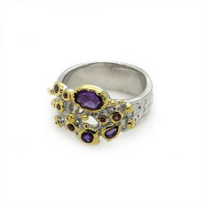 A Stunning Amethyst Gold Plated Silver Ring
