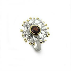 Twisted Branch Red Garnet Ring