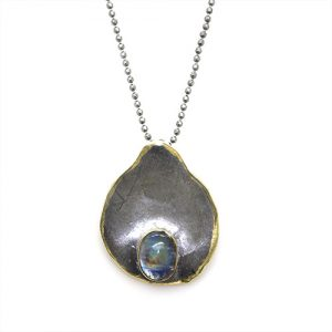 Black Gold Plated Sterling Silver Spectrolite Stone LE Mer Necklace