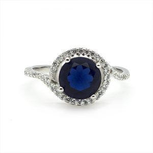 The Blue Zircon Twist Engagement Ring