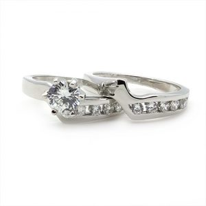 A Classic Bridal Silver Ring Set