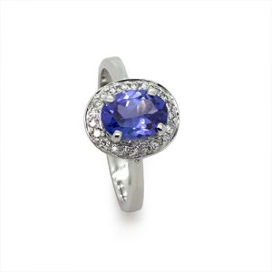 A Grandeur Tanzanite Ring With Diamonds In 18ct White Gold.