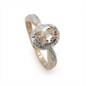The Oval Halo Morganite Gemstone Engagement Ring