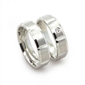 The Baguette Silver Wedding Bands