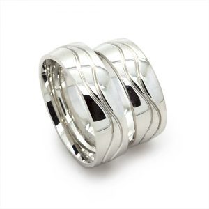 The Wave Silver Wedding Bands