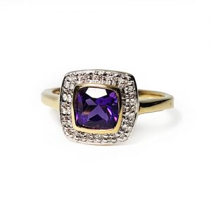 The Amethyst Cushion Diamond Engagement Ring